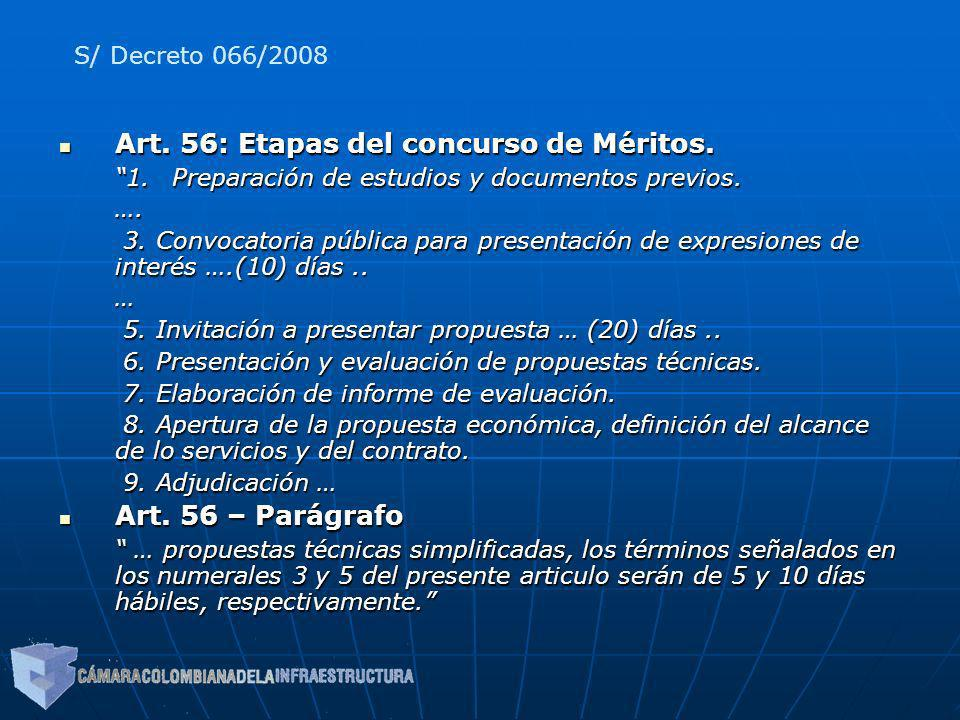 Art. 56: Etapas del concurso de Méritos.