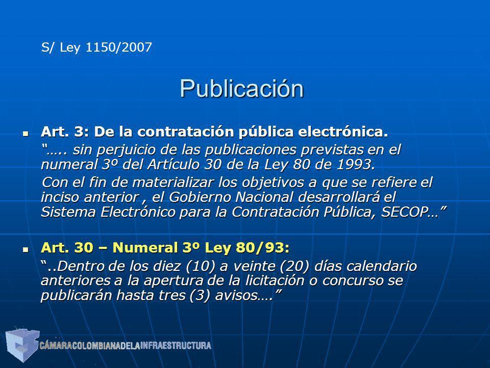 Publicación Art. 3: De la contratación pública electrónica.