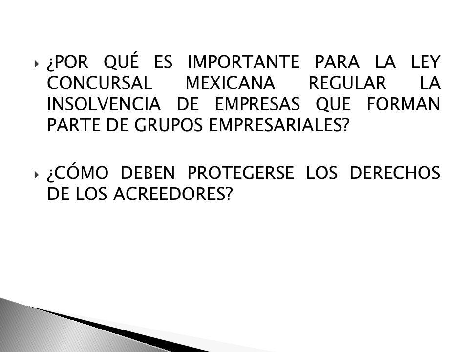 ¿POR QUÉ ES IMPORTANTE PARA LA LEY CONCURSAL MEXICANA REGULAR LA INSOLVENCIA DE EMPRESAS QUE FORMAN PARTE DE GRUPOS EMPRESARIALES