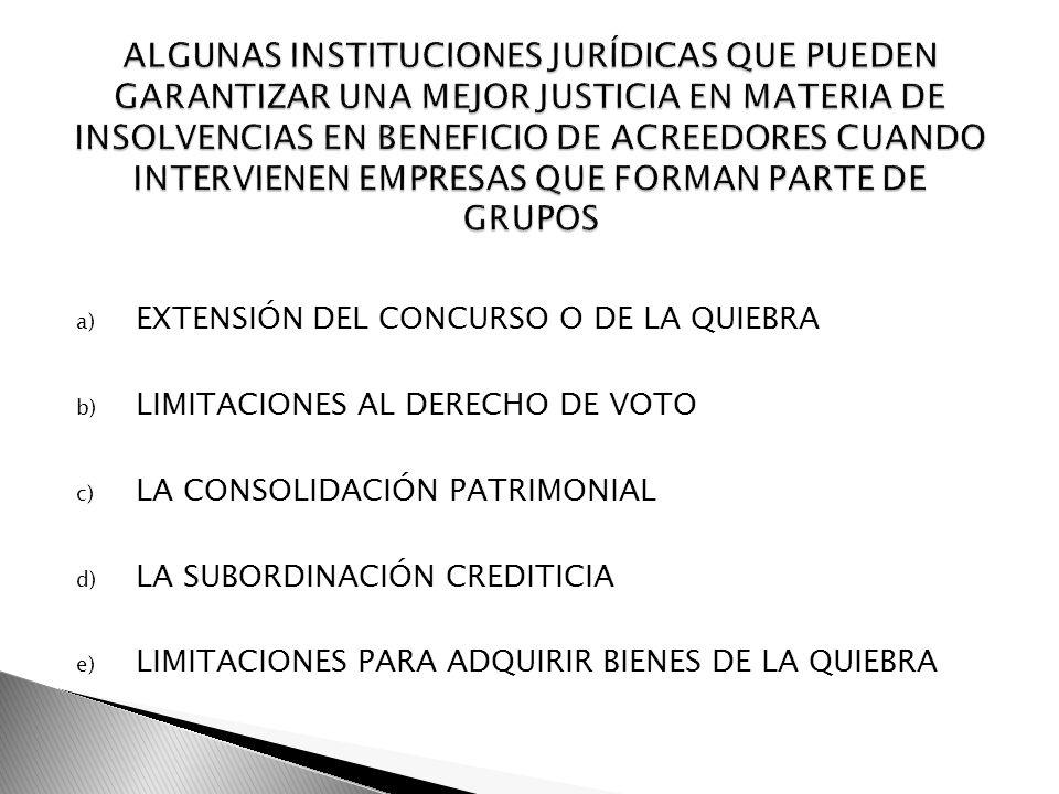 ALGUNAS INSTITUCIONES JURÍDICAS QUE PUEDEN GARANTIZAR UNA MEJOR JUSTICIA EN MATERIA DE INSOLVENCIAS EN BENEFICIO DE ACREEDORES CUANDO INTERVIENEN EMPRESAS QUE FORMAN PARTE DE GRUPOS
