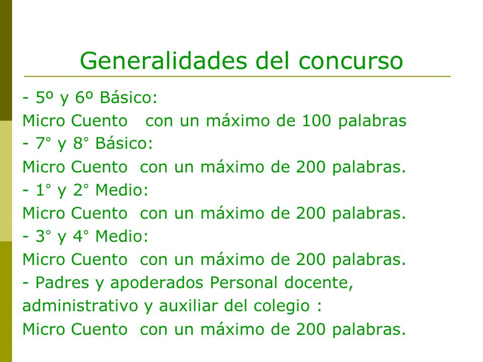 Generalidades del concurso