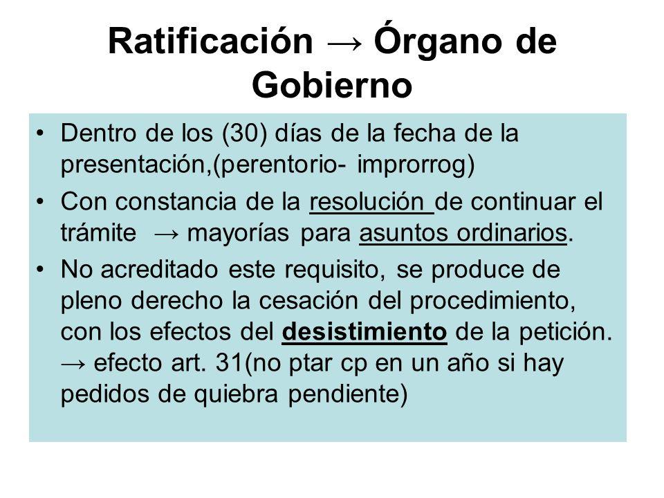 Ratificación → Órgano de Gobierno