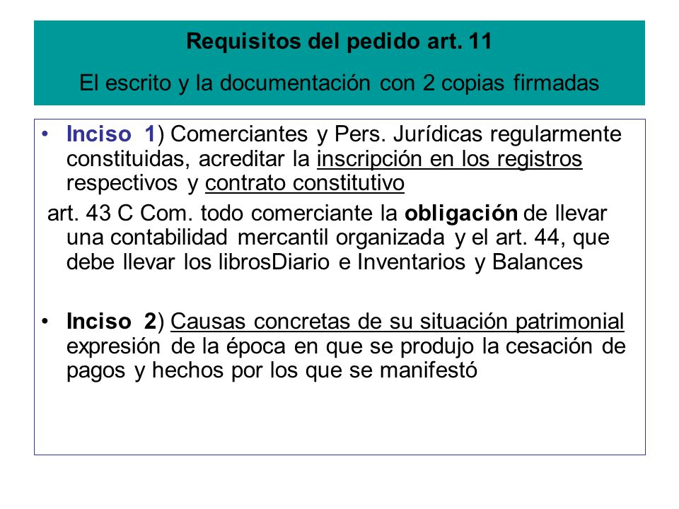 Requisitos del pedido art