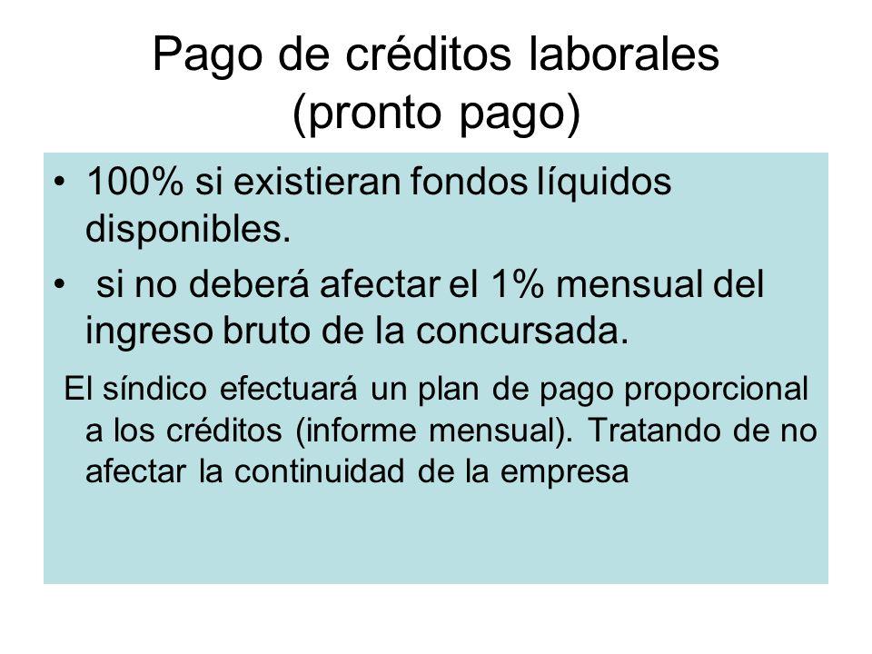 Pago de créditos laborales (pronto pago)