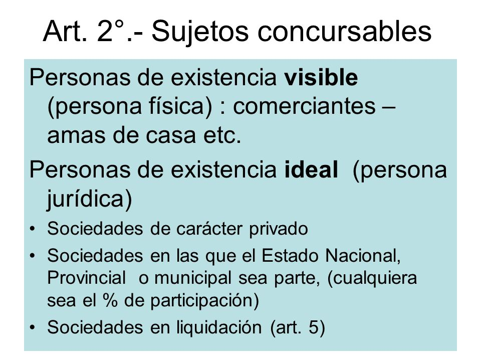 Art. 2°.- Sujetos concursables