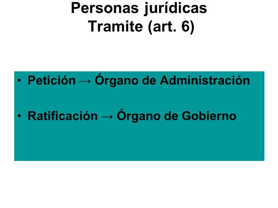Personas jurídicas Tramite (art. 6)