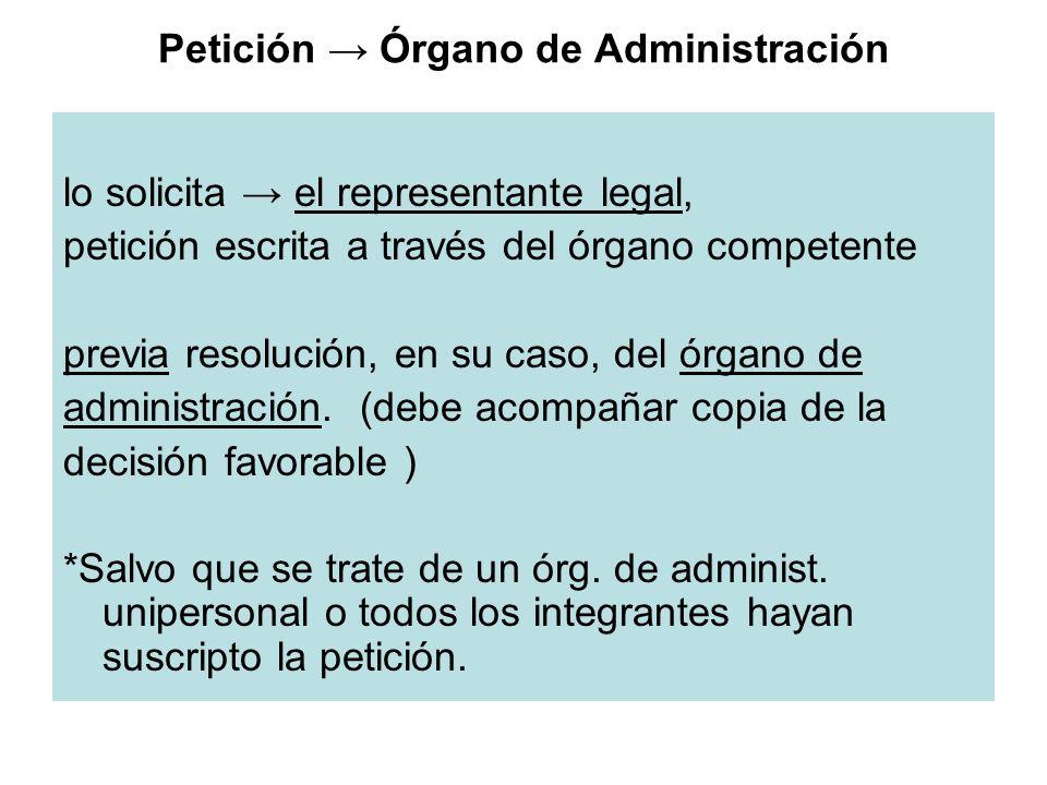 Petición → Órgano de Administración