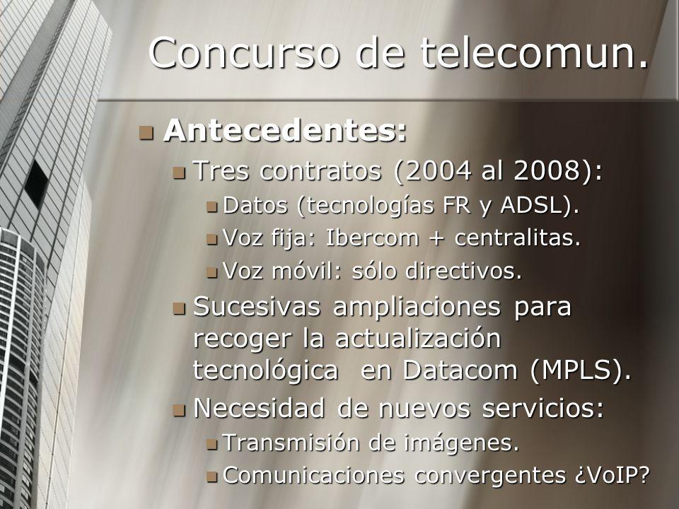 Concurso de telecomun. Antecedentes: Tres contratos (2004 al 2008):