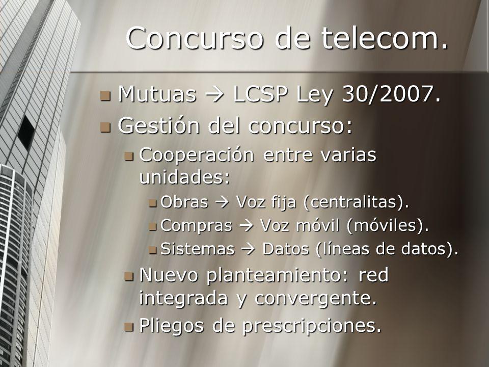 Concurso de telecom. Mutuas  LCSP Ley 30/2007. Gestión del concurso: