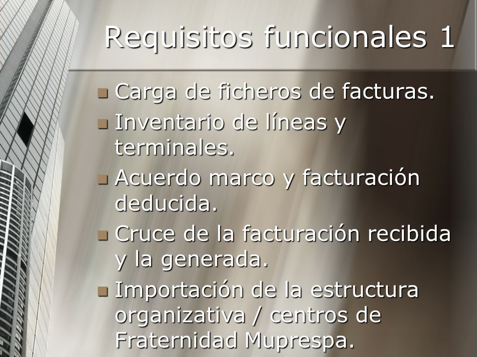 Requisitos funcionales 1
