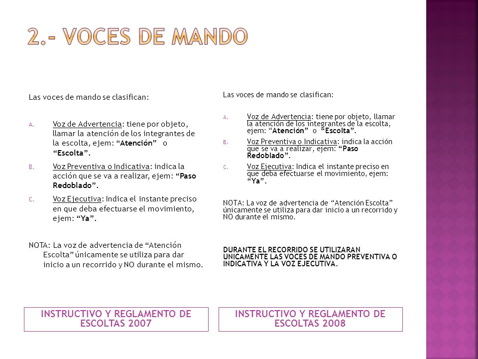 2.- VOCES DE MANDO INSTRUCTIVO Y REGLAMENTO DE ESCOLTAS 2007
