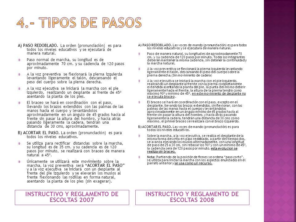 4.- TIPOS DE PASOS INSTRUCTIVO Y REGLAMENTO DE ESCOLTAS 2007