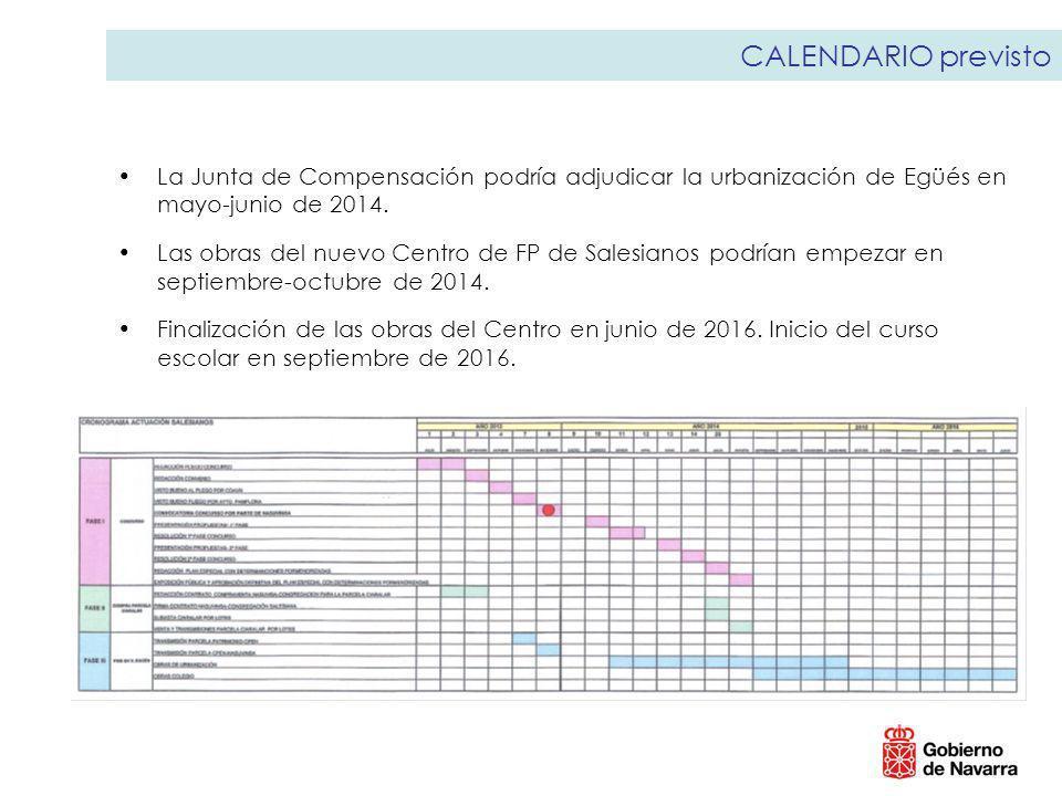 CALENDARIO previsto La Junta de Compensación podría adjudicar la urbanización de Egüés en mayo-junio de 2014.