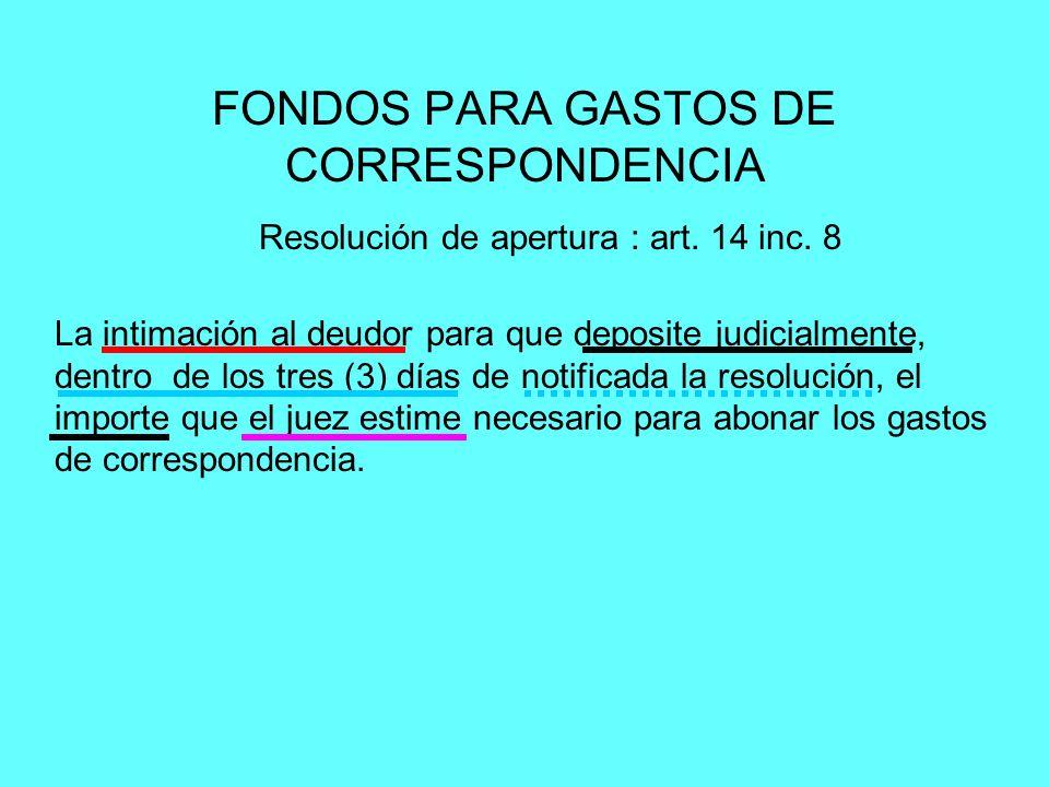 FONDOS PARA GASTOS DE CORRESPONDENCIA