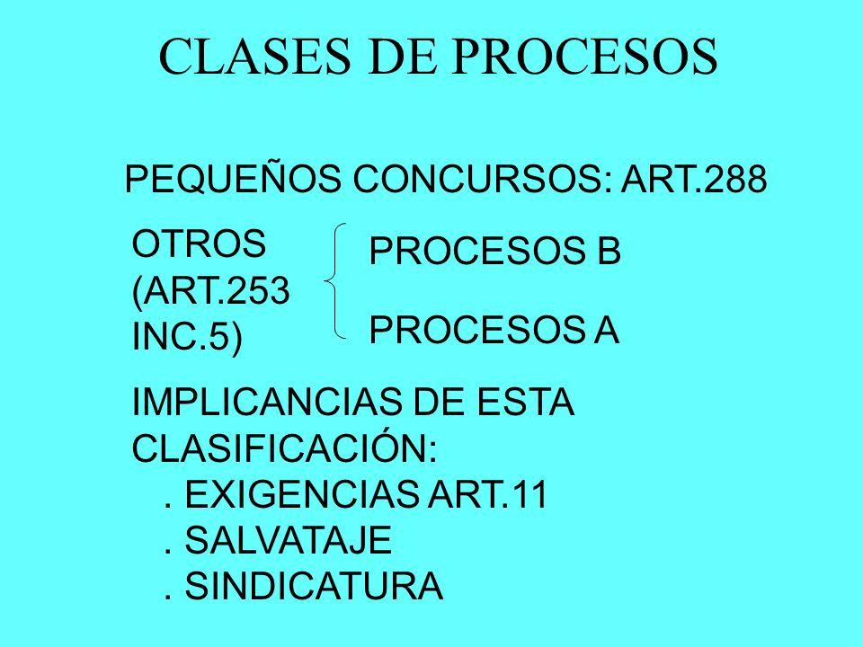 CLASES DE PROCESOS PEQUEÑOS CONCURSOS: ART.288 OTROS PROCESOS B