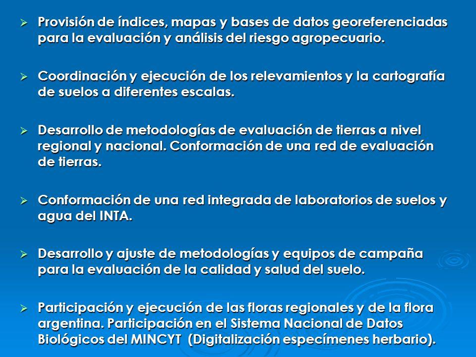 Provisión de índices, mapas y bases de datos georeferenciadas para la evaluación y análisis del riesgo agropecuario.