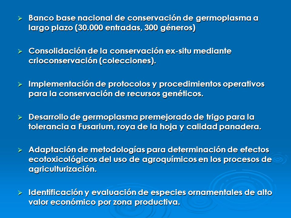 Banco base nacional de conservación de germoplasma a largo plazo (30
