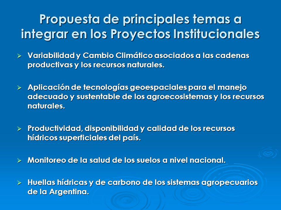 Propuesta de principales temas a integrar en los Proyectos Institucionales