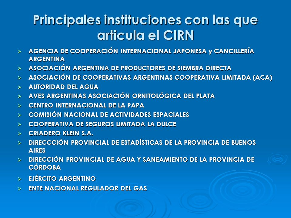 Principales instituciones con las que articula el CIRN