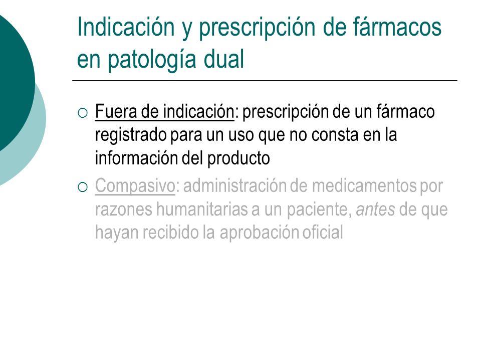 Indicación y prescripción de fármacos en patología dual