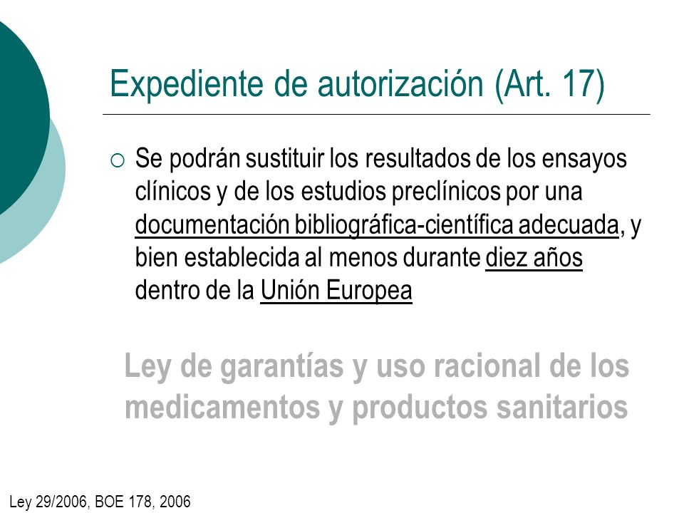 Expediente de autorización (Art. 17)