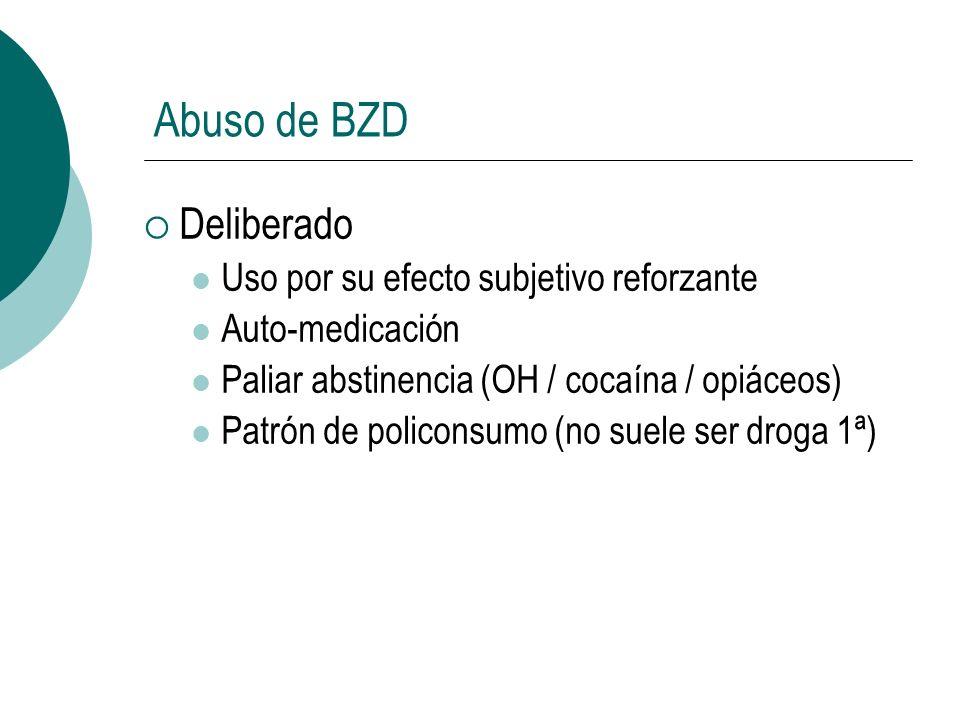 Abuso de BZD Deliberado Uso por su efecto subjetivo reforzante