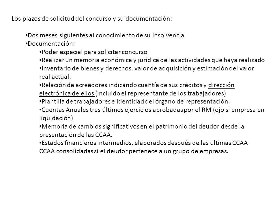 Los plazos de solicitud del concurso y su documentación: