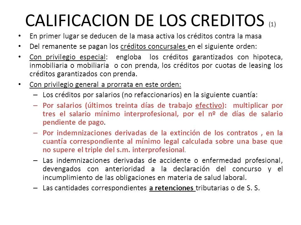 CALIFICACION DE LOS CREDITOS (1)