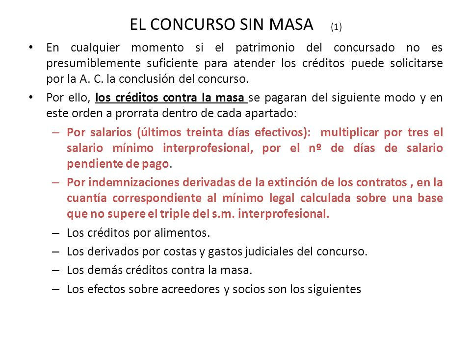 EL CONCURSO SIN MASA (1)