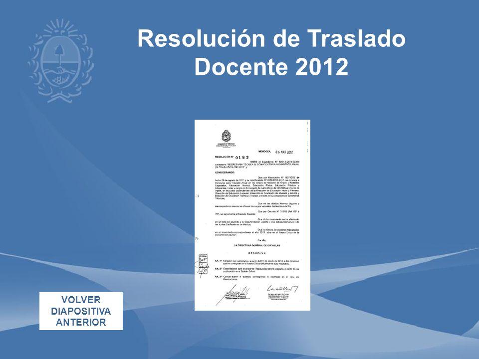Resolución de Traslado Docente 2012