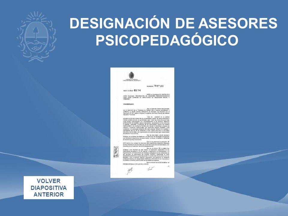 DESIGNACIÓN DE ASESORES PSICOPEDAGÓGICO VOLVER DIAPOSITIVA ANTERIOR