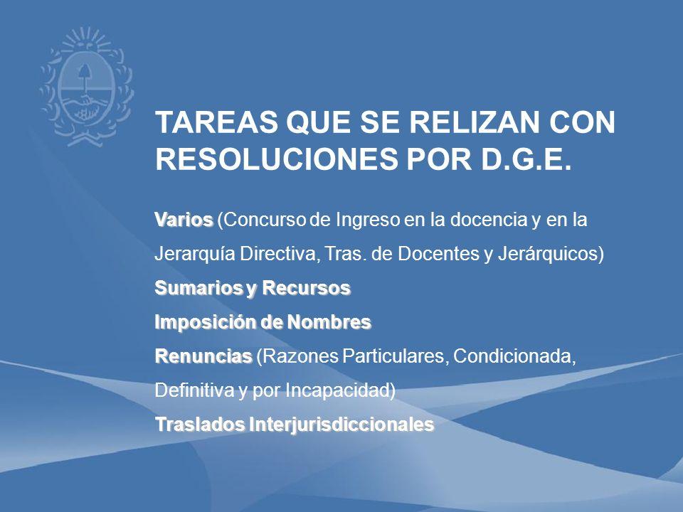TAREAS QUE SE RELIZAN CON RESOLUCIONES POR D.G.E.