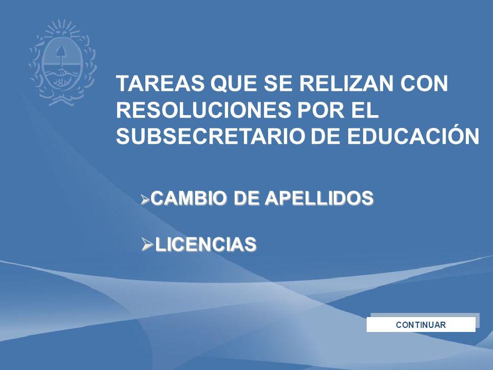 TAREAS QUE SE RELIZAN CON RESOLUCIONES POR EL SUBSECRETARIO DE EDUCACIÓN