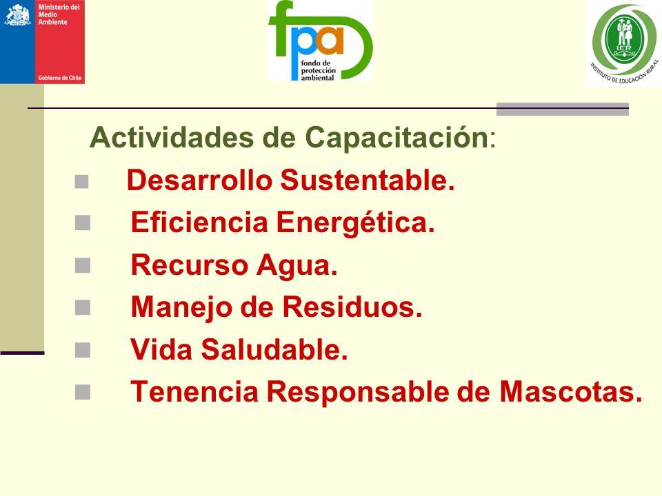 Actividades de Capacitación: Eficiencia Energética. Recurso Agua.