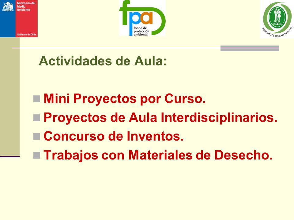 Mini Proyectos por Curso. Proyectos de Aula Interdisciplinarios.