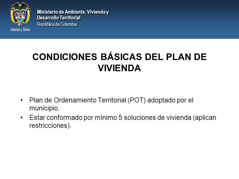 CONDICIONES BÁSICAS DEL PLAN DE VIVIENDA