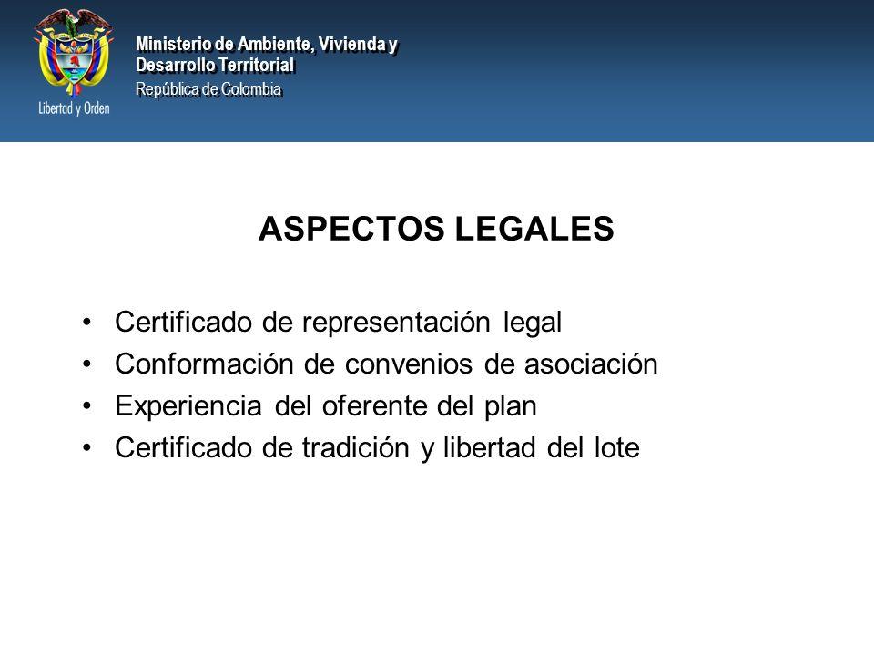 ASPECTOS LEGALES Certificado de representación legal