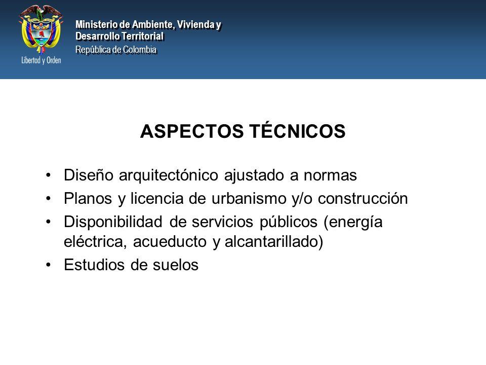 ASPECTOS TÉCNICOS Diseño arquitectónico ajustado a normas