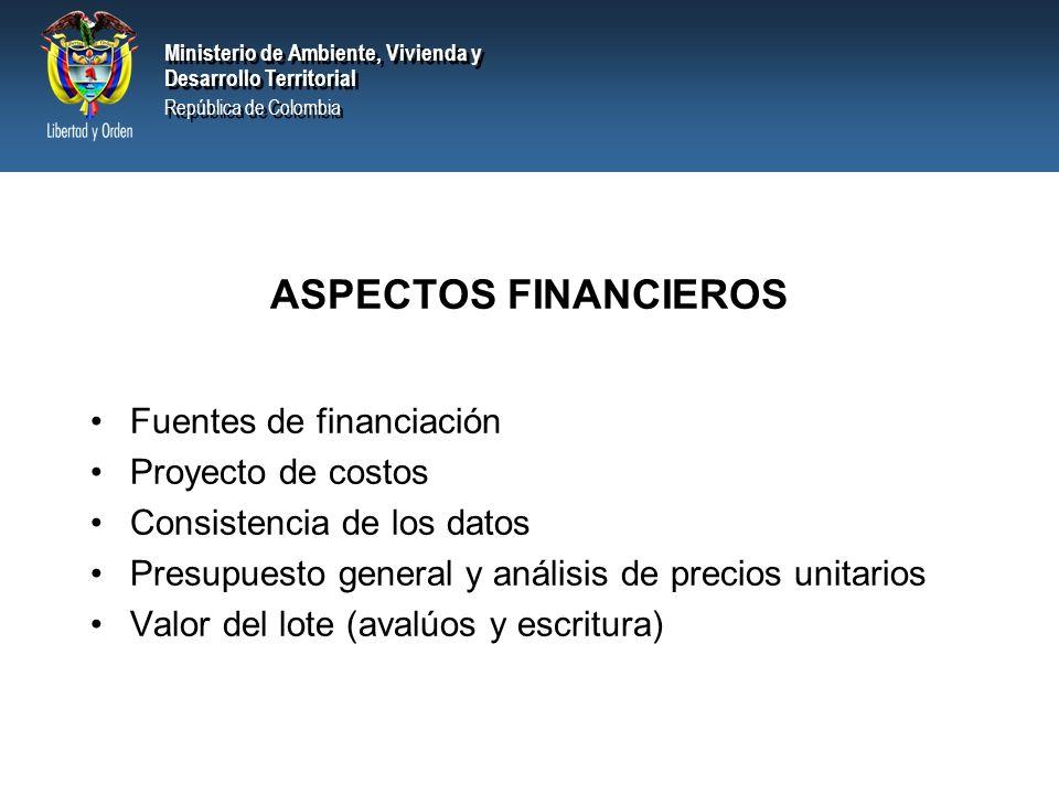 ASPECTOS FINANCIEROS Fuentes de financiación Proyecto de costos