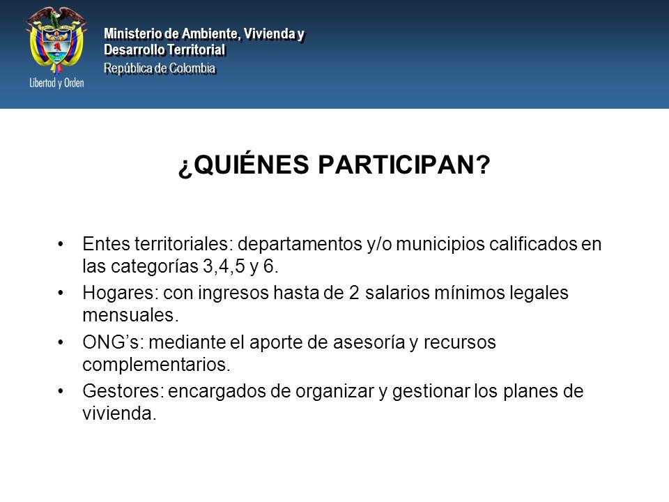 ¿QUIÉNES PARTICIPAN Entes territoriales: departamentos y/o municipios calificados en las categorías 3,4,5 y 6.