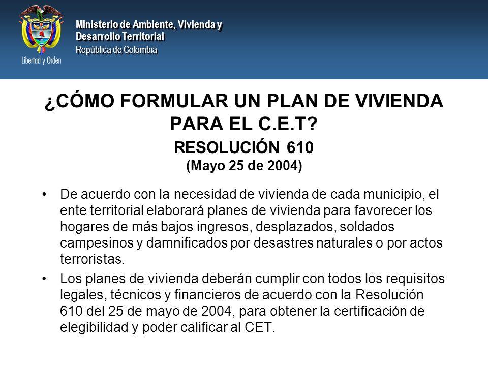 ¿CÓMO FORMULAR UN PLAN DE VIVIENDA PARA EL C. E. T