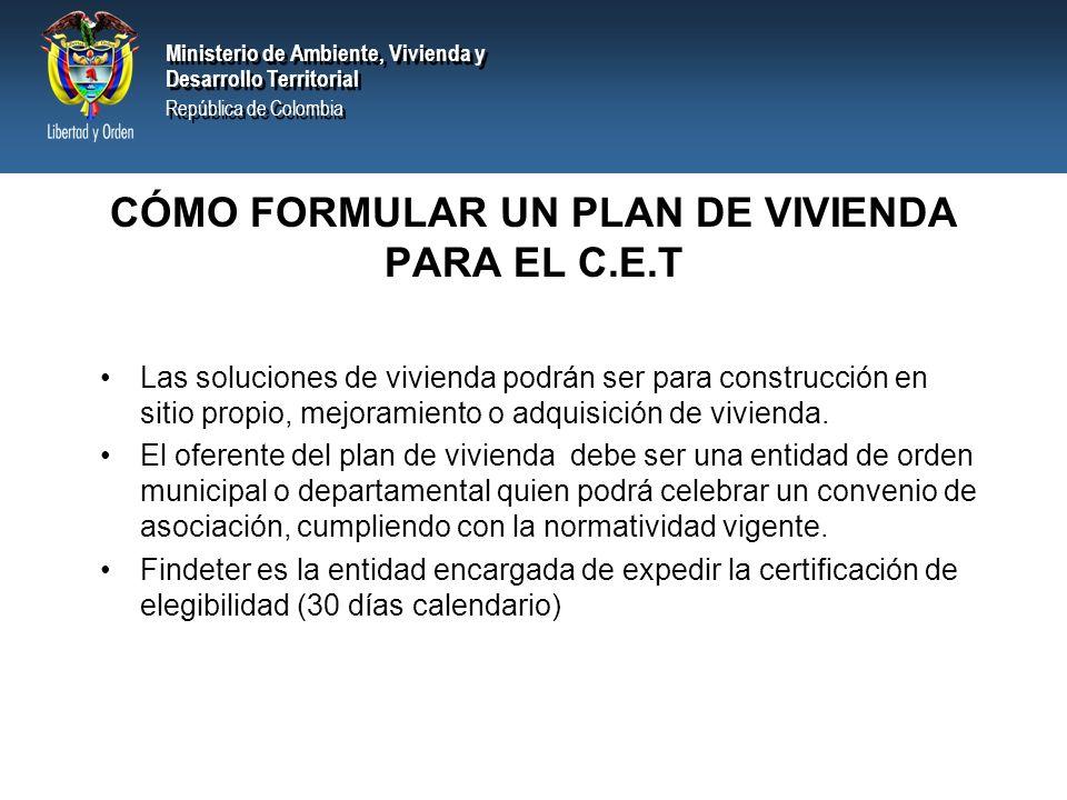 CÓMO FORMULAR UN PLAN DE VIVIENDA PARA EL C.E.T