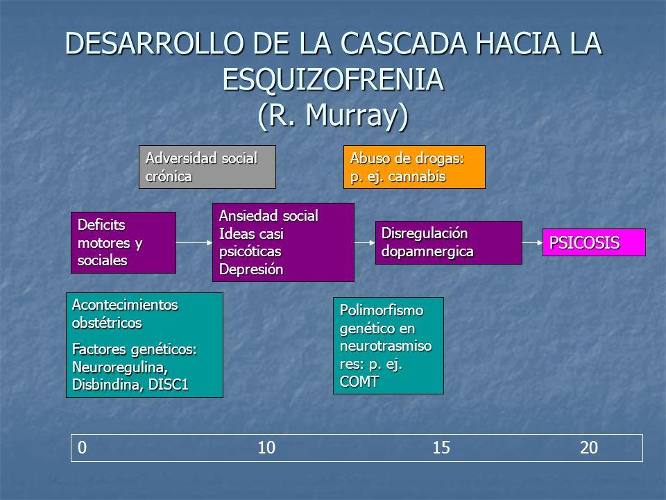 DESARROLLO DE LA CASCADA HACIA LA ESQUIZOFRENIA (R. Murray)