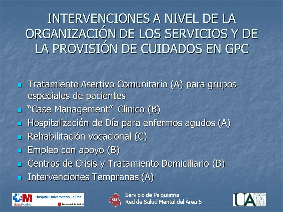 INTERVENCIONES A NIVEL DE LA ORGANIZACIÓN DE LOS SERVICIOS Y DE LA PROVISIÓN DE CUIDADOS EN GPC
