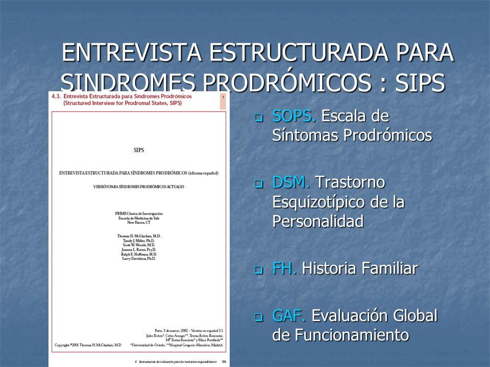 ENTREVISTA ESTRUCTURADA PARA SINDROMES PRODRÓMICOS : SIPS