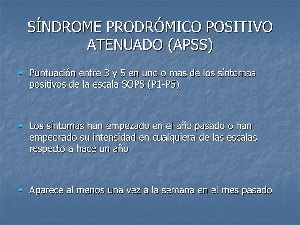 SÍNDROME PRODRÓMICO POSITIVO ATENUADO (APSS)