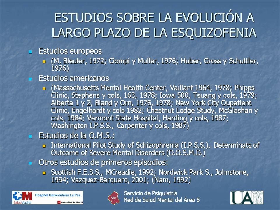 ESTUDIOS SOBRE LA EVOLUCIÓN A LARGO PLAZO DE LA ESQUIZOFENIA