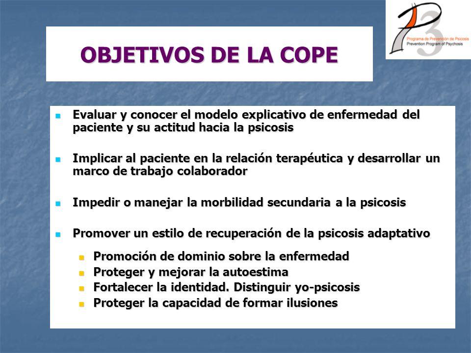 OBJETIVOS DE LA COPE Evaluar y conocer el modelo explicativo de enfermedad del paciente y su actitud hacia la psicosis.