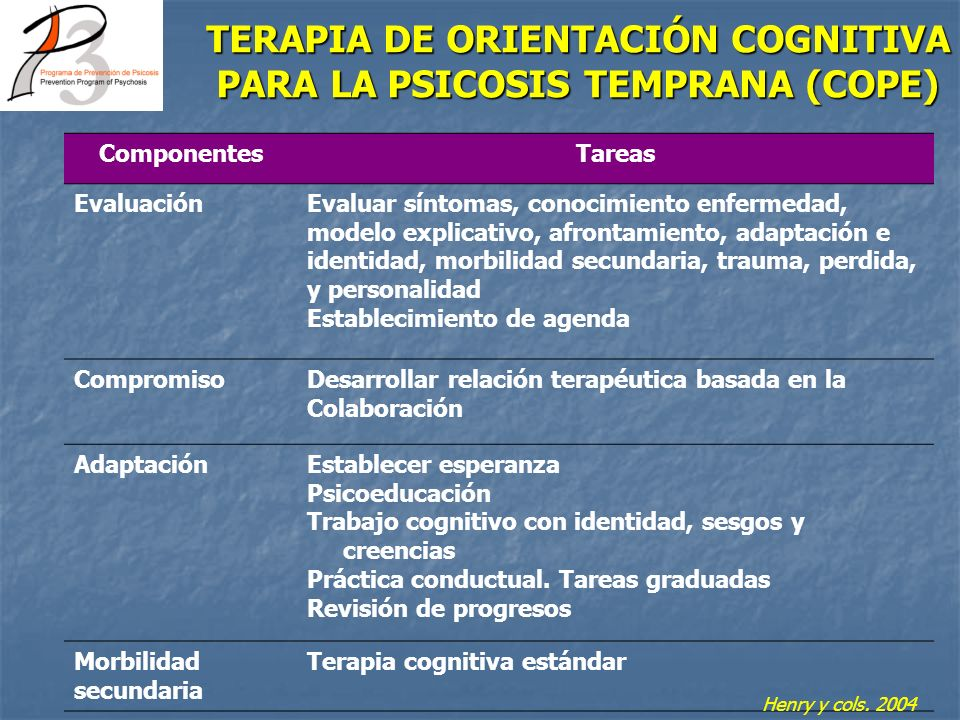 TERAPIA DE ORIENTACIÓN COGNITIVA PARA LA PSICOSIS TEMPRANA (COPE)