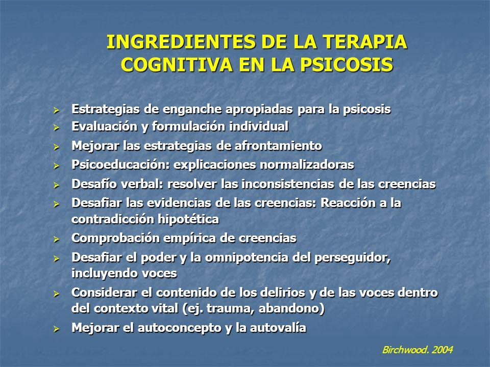 INGREDIENTES DE LA TERAPIA COGNITIVA EN LA PSICOSIS